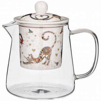 Чайник стеклянный с ситом lefard парижские коты 500 мл (кор=24шт.)