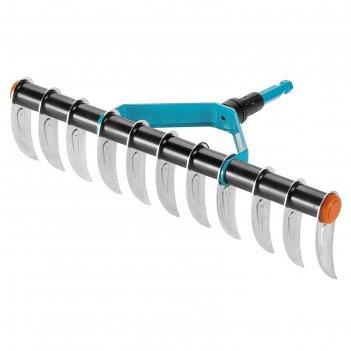 Грабли-аэратор, прямые, прямой зубец, 11 зубцов, металл, насадка для комби