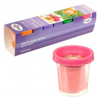 Тесто для лепки малыш , 4 цвета * 60г, яркие цвета