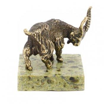 Статуэтка горная коза бронза змеевик