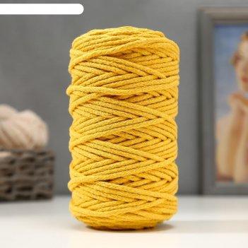 Шнур для вязания 100% хлопок, ширина 5 мм 100м/450гр (горчица)