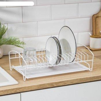 Сушилка для посуды с поддоном, 39x25x12 см, цвет белый