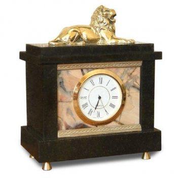 Настольные часы лев камень яшма