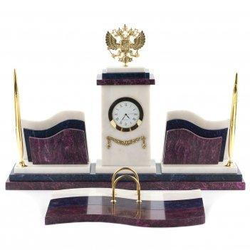 Настольный набор герб мрамор змеевик 445х325х300 мм 8400 гр.