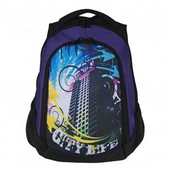 Рюкзак, черно-фиолетовый, 360x430x140