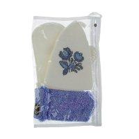 Набор для бани и сауны с вышивкой «гжель»: шапка, рукавица, мочалка, бело-