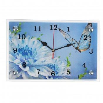 Часы настенные, серия: цветы, бабочка и голубые цветы, 20х30  см, микс