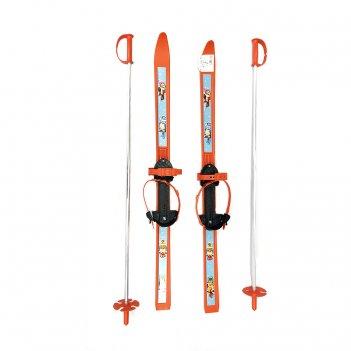 Лыжи детские вираж-спорт с палками, оранжевый