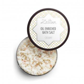 Ароматизированная соль для ванн zeitun «сливочная» с маслом миндаля и козь