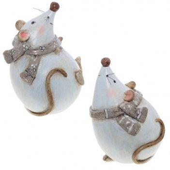 Фигурка декоративная мышка, 10х9х14,5 см, 2 в.