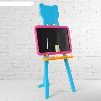 Мольберт с двусторонней доской для рисования рисуем с мишкой, доска: 43 x