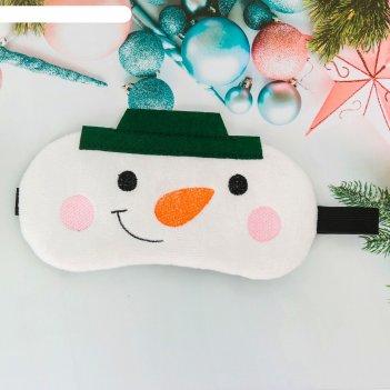Маска для сна снеговик