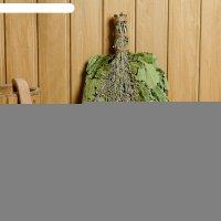 Веник для бани экстра из красного дуба с полынью, в индивидуальной упаковк