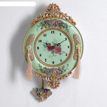 Часы настенные, серия: маятник, розы и ажур, 20х28 см
