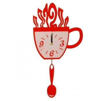 Часы чашка и ложка cl152 44х22см красные