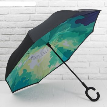 Зонт наоборот лесная сказка, полуавтоматический, r=53см, цвет зелёный/чёрн