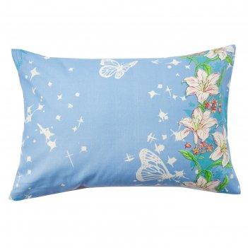 Наволочка экономь и я 50*70 цветочный рай  цв.голубой, 120 гр/м2,100%хлопо