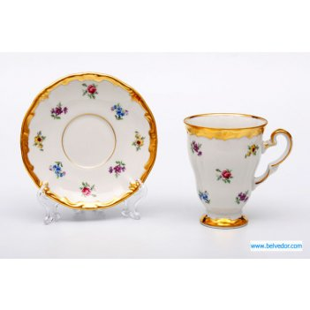 Набор для каппучино мейсеновский цветок 1016(чашка260мл+бл