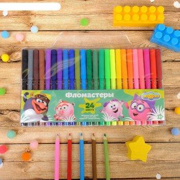 Фломастеры 24 цвета смешарики друзья