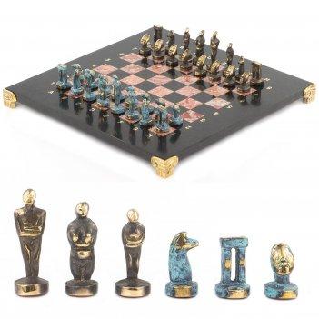 Шахматы идолы доска 280х280 мм лемезит змеевик металл