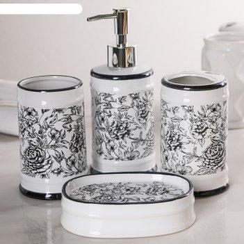Набор аксессуаров для ванной комнаты, 4 предмета черные пионы