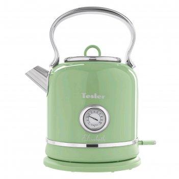 Чайник электрический tesler kt-1745 green, 2200 вт, 1.7 л, металл, ретро,