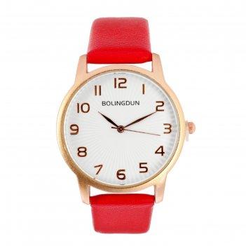 Часы наручные женские бернини, циферблат d=3.6 см, красный микс
