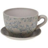 Горшок для цветов с поддоном 2250 мл чайная пара бежевое