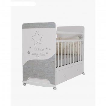 Кровать детская cosmic колесо-качалка с ящиком, цвет белый