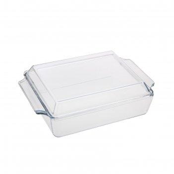 Кастрюля стеклянная 1,5 л жаропрочная с крышкой прямоуг