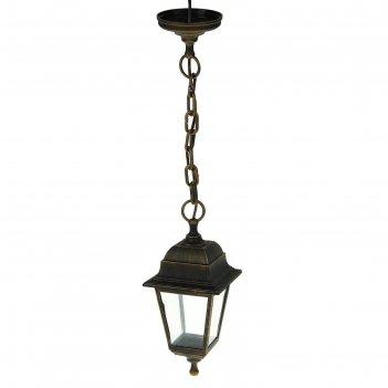 Светильник tdm, садово-парковый, четырёхгранник, подвесной, цвет бронза, s