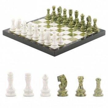 Шахматы из камня мрамор змеевик 38х38 см