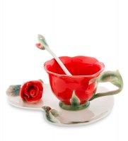 Fm-01/ 2 чайная пара красная роза (pavone)