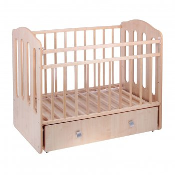 Кроватка детская чудо, маятник с ящиком  цвет беж./береза