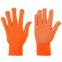 Перчатки х/б с нейлоновой нитью с пвх точка оранжевые