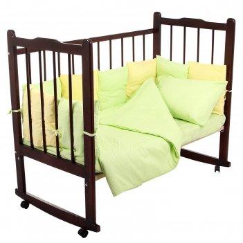Комплект в кроватку 4 предмета мозаика, цвета салатовый/лимонный 10407