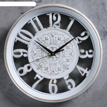 Часы настенные, серия: интерьер, цианотис, белые, d=30.5 см