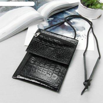 Кошелёк-турконверт на шею, отдел на молнии, наружный карман, цвет чёрный