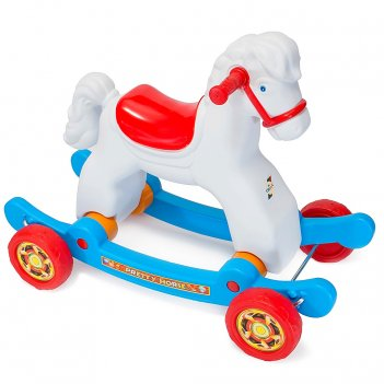 Ор146в2 качалка-каталка лошадка белая на колесах трансформер