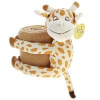 Набор подарочный этелька 2 предмета жираф-обнимашка, плед 75х100 см, флис