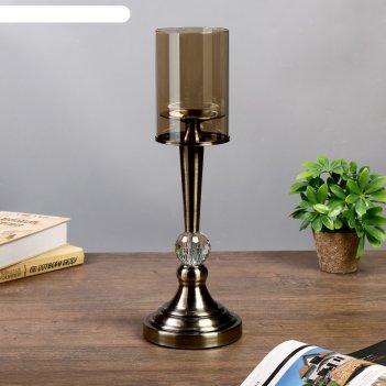 Подсвечник металл, стекло на 1 свечу кристалл под латунь 44х14х14 см