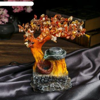 Фонтан денежное дерево 240 камней от сети микс 25х23х10 см