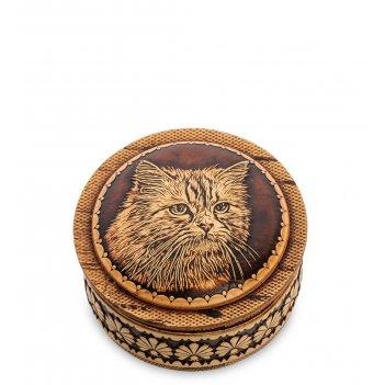Bst-411/ 3 шкатулка кот (береста, тиснение)
