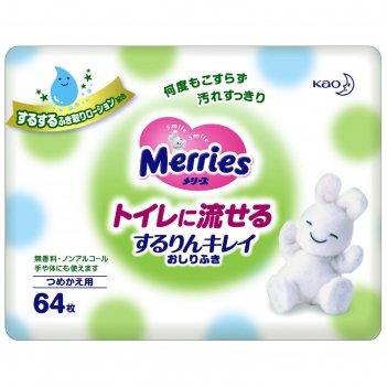 Детские влажные салфетки merries flushable,запасной блок, 64 шт