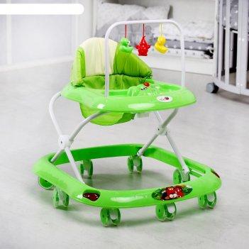 Ходунки «маленький водитель с», 8 силиконовых колес, муз., игр., зеленый