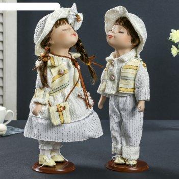 Кукла коллекционная поцелуй пары в белом наряде в наборе 2 шт