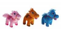 Мягкая игрушка лошадь на попоне вышиты цветы, цвета микс
