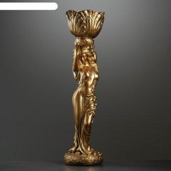 Фигура девушка стоя кашпо на голове средняя бронза 80см