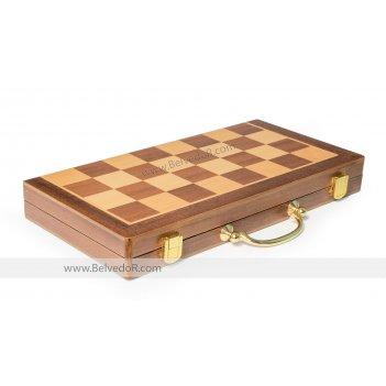 Шахматная доска складная в форме кейса махагон 45х45см