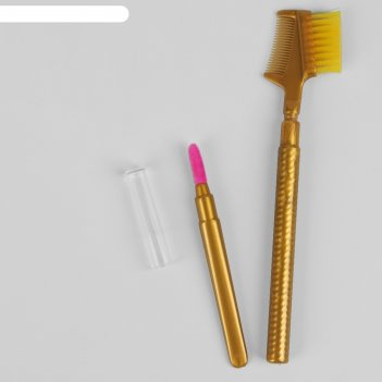 Набор кистей для макияжа, 2 предмета, цвет золотой